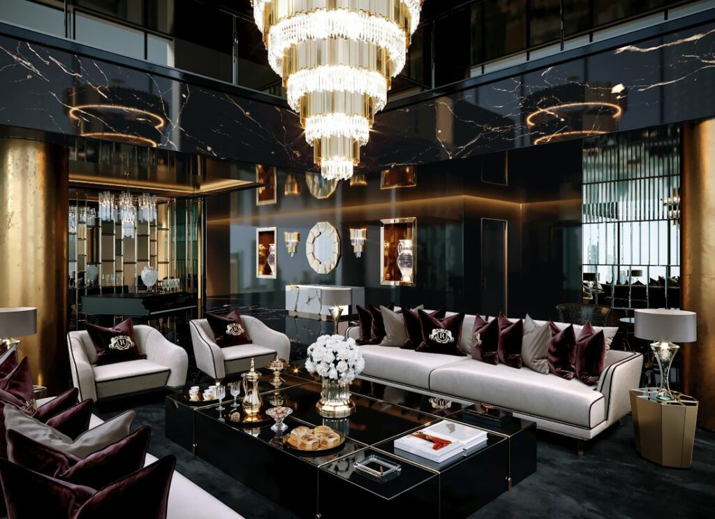 The luxuriously furnished apartment by Celia Sawyer. Empire Chandelier by Luxxu in the centre.