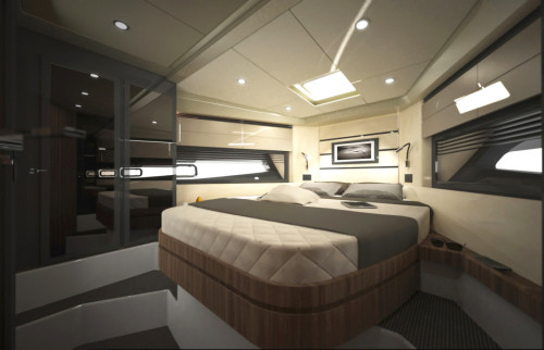 The smart and functional Master Suite of Azimut Atlantis 43