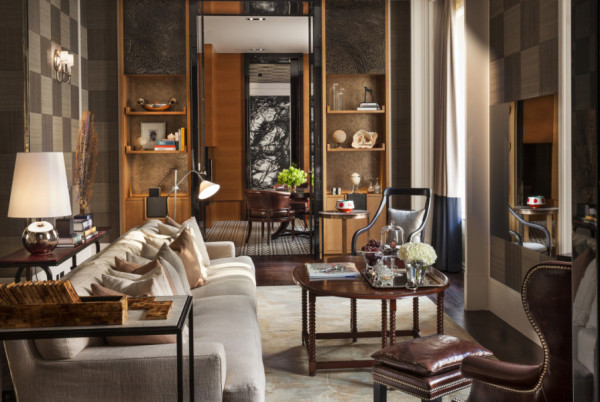 Living Room of the suite with a postocde at Rosewood London