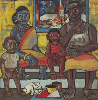 Untitled (Indian Family) by Francis Newton Souza. Oil on board, 1947. Size: 119.6 x 11.2cm © Estate of F N Souza. All rights reserved, DACS / ARS 2014