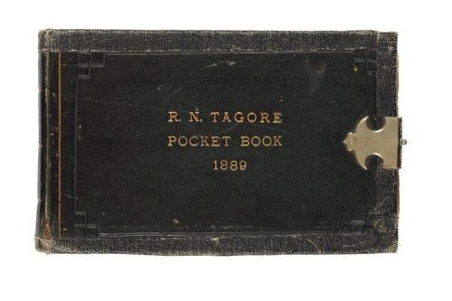 The pocket book or Mazunder Punthi of Rabindranath Tagore from 1892-1904. Cover with gilt lettering 'R.N. Tagore Pocket Book, 1889'
