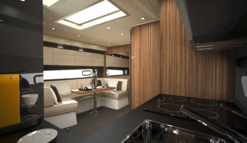 The Azimut Atlantis 43 has a comfortable and welcoming living room area located amidships