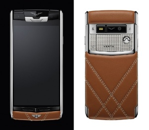 The 'Vertu for Bentley' luxury smartphone is covered in quilted hand-finished calf leather in the classic Bentley shade of Newmarket Tan