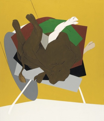 "Untitled (Falling Bull) by Tyeb Mehta, signed and dated 'Tyeb 99' (on the reverse). Acrylic on canvas; size: 69"" x 59"". Painted in 1999."