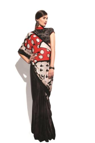Minnie Mouse Georgette Bow Saree by Satya Paul