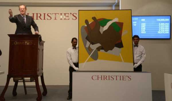 Tyeb Mehta's Untitled (Falling Bull), 1999, at the Christie's auction in Mumbai.