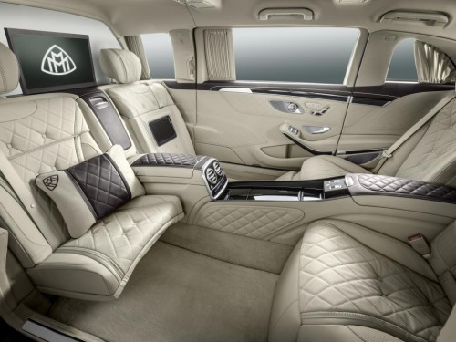 Interiors of Mercedes-Maybach Pullman with vis-à-vis seating