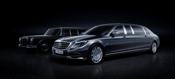 The Mercedes-Maybach Pullman against the Mercedes-Benz 600 Pullman