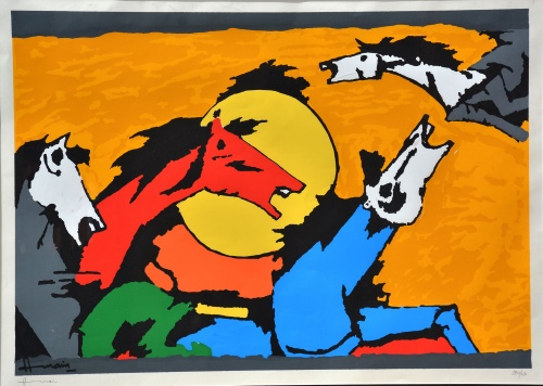 M.F. Husain signed serigraph. Horse Series. Size: 39in x 50.5in x 1in