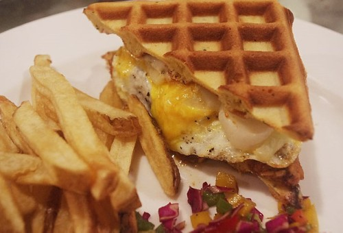 BBQ Chicken Waffle-Burger at The White Owl Brewery & Bistro