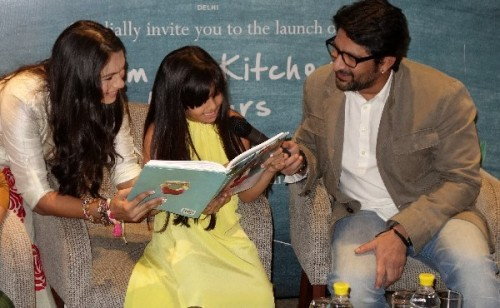 Maria Goretti and Arshad Warsi with daughter Zene at the launch of 'From My Kitchen to Yours'