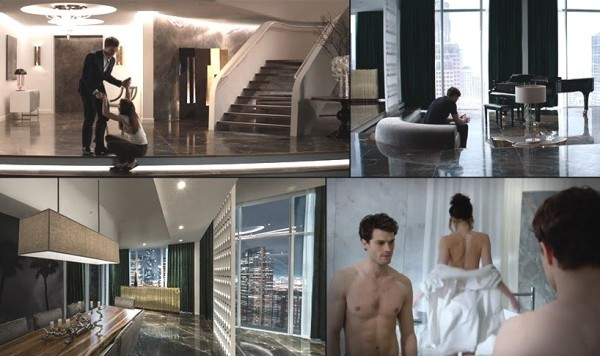 Stills of Christian Grey's hyper-luxury apartment from the film Fifty Shades of Grey, the prequel to Fifty Shades Darker