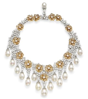 Cultured pearl, diamond and yellow diamond fringe necklacefrom the collection of H.S.H. Gabriela Princess zu Leiningen