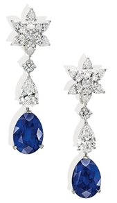 Burmese sapphire and diamond ear pendants by Cartier from the collection of H.S.H. Gabriela Princess zu Leiningen