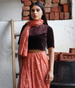 Akira sari in coral by Shades of India