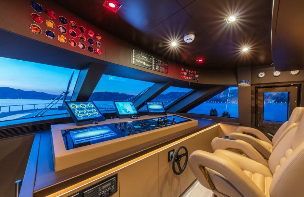 Wheelhouse of Roberto Cavalli's yacht Freedom