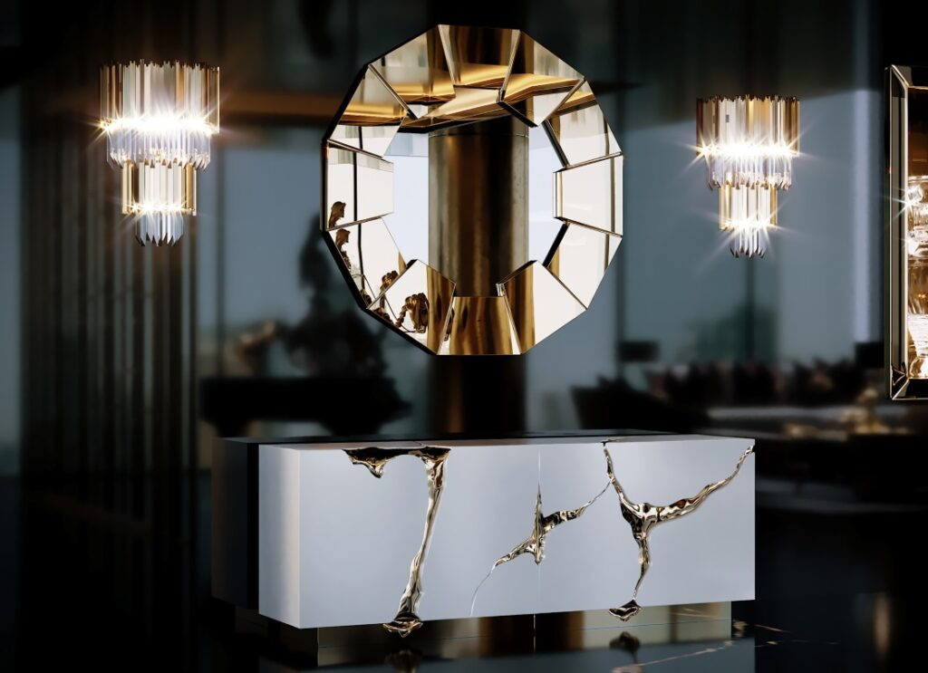 The Lapiaz Sideboard from Boca Do Lobo and Darian Gold Mirror by Luxxu in the apartment designed by Celia Sawyer