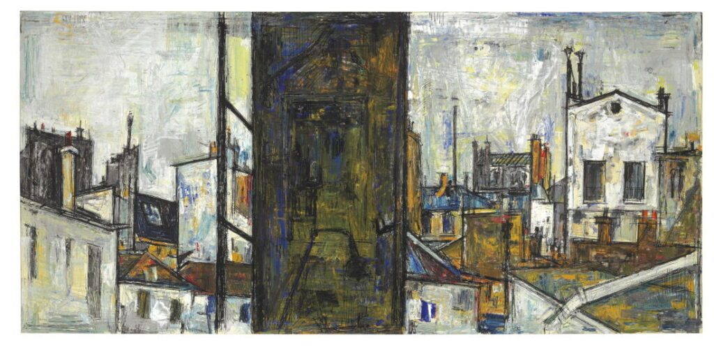25 years of Christie's, Auction in NY: Untitled (Cityscape) by Sayed Haider Raza, signed and dated 'RAZA 1956' (upper left). Oil and ink on paper laid on canvas, 19½ x 41½ in.