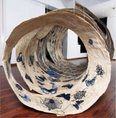 Cocoon by Jayashree Chakravarty, whose solo exhibition in collaboration with the Kiran Nadar Museum of Art, is on at Musée Des Arts Asiatiques, Nice, as part of Namaste France