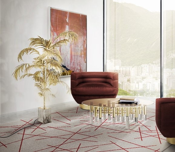 Jobim Armchair, Polanski Rug, Ivete Palmtree and Ike Centre Table by DelightFull